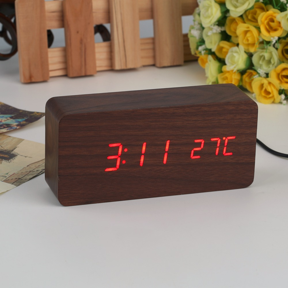 4 Colors Large Size LED Wooden Alarm Clocks with Thermometer Rectangle Table Clocks Digital Clock Classic LED Wooden Clocks(China (Mainland))