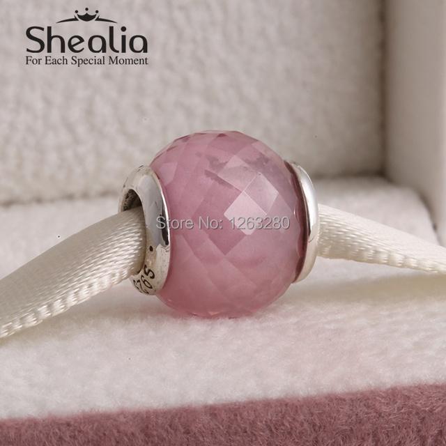 Абстрактный грановитая муранского стекло бусины с розовый cz 925 чистое серебро SHEALIA ювелирные изделия подходит бренд своими руками браслеты BD221