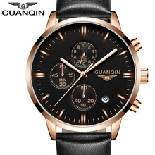 Buy Mens Watches Top Brand Luxury GUANQIN Men Military Sport Luminous Wristwatch Chronograph Leather Quartz Watch relogio masculino for $19.99 in AliExpress store