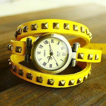 Genuine Cow leather leather strap watches women ladies wholesale fashion Punk Wrap wristwatches TOP quality  KOW004
