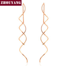 ZHOUYANG Top Quality Simple Spiral Ear Line White & Rose Gold Plated Fashion Earrings Jewelry Wholesale ZYE243 ZYE319(China (Mainland))