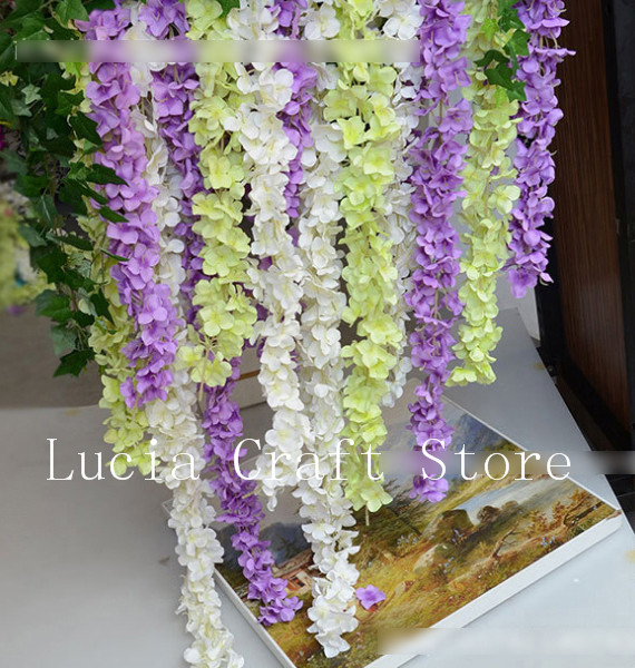 2pcs/lot 34cm Artificial Wisteria Flower Vine Handmade Hanging Garland Wedding Home Decorative Rattan 027005015(China (Mainland))