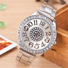 Ladies Fashion Silver Rose Gold Watch Women Luxury Brand Quartz Wristwatch With Rhinestone Steel Clock Female