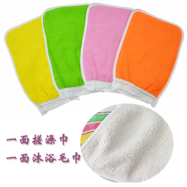 2016 double color double bath towel cha cha daily supermarkets sell bath sponge robot massage exfoliating gloves(China (Mainland))