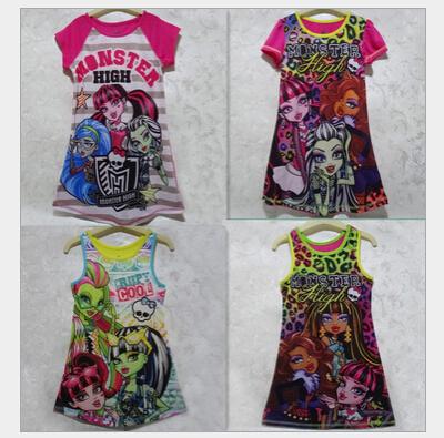 Hot Seller Animation Monster High Printing Pattern 4-16T Girls Summer Dress Children Sleepwear Nightgowns dresses(China (Mainland))