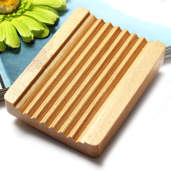 Natural Trapezoid Wood Soap Dish Box Container Holder Bathroom Home Accessory 10x7.5cm(China (Mainland))