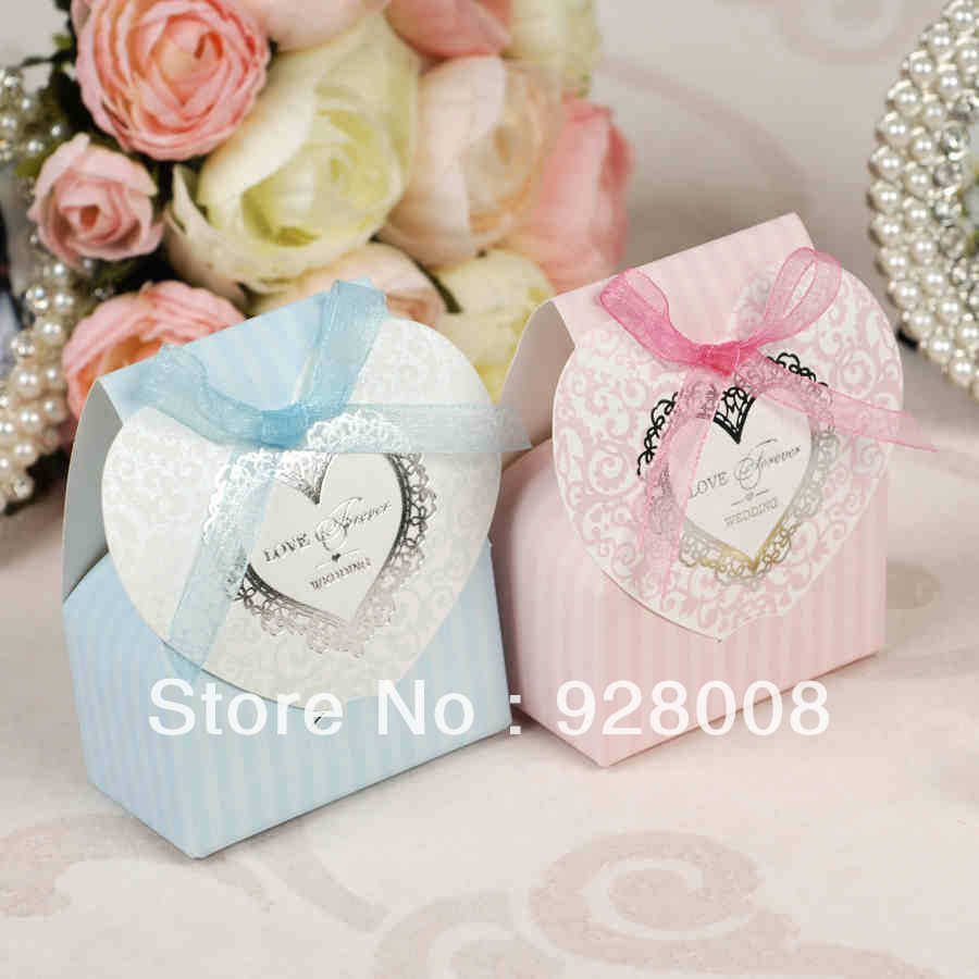 2014 New -- 6.5x8cm Pink Sky Blue Color Ribbon Wedding favour box Party Candy Box Favor Gift Boxes wedding - Wendy Chen Fashion Store store
