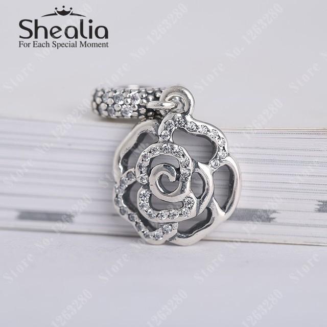 2015 день матери подарок проложить сверкающих роуз мотаться подвески бусы с cz стерлингового серебра 925 SHEALIA ювелирных изделий для браслетов DG145