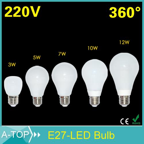 E27 3W 5W 7W 10W 12W Led Light 2835 Chip 220V Bubble Ball Bulb Lamps 360 Degree White/Warm White Corn Lighting for living room(China (Mainland))