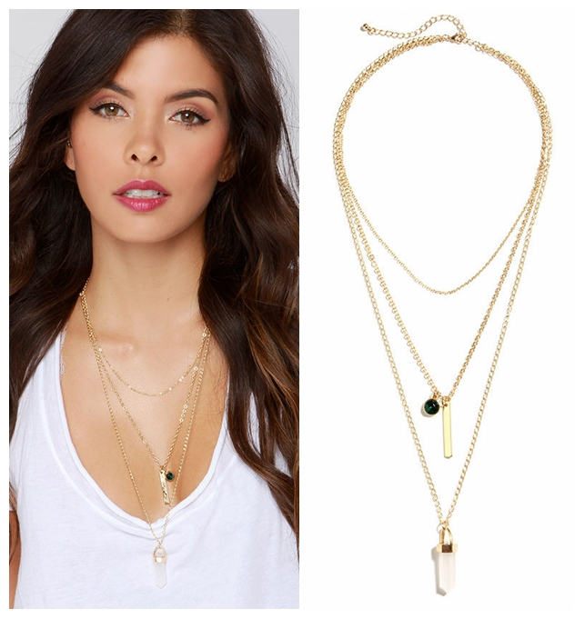 hot sale Vintage Jewelry Neckless Double MultiLayer Tassels Gold Chain Designer Necklaces Pendants For Women(China (Mainland))