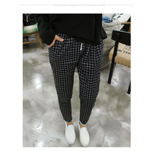 2016 New Spring Casual Loose Cotton Harem Pants Plus Size Plaid Capris Grid Black Pockets Lady Trousers Spring Loose Harem Pants(China (Mainland))