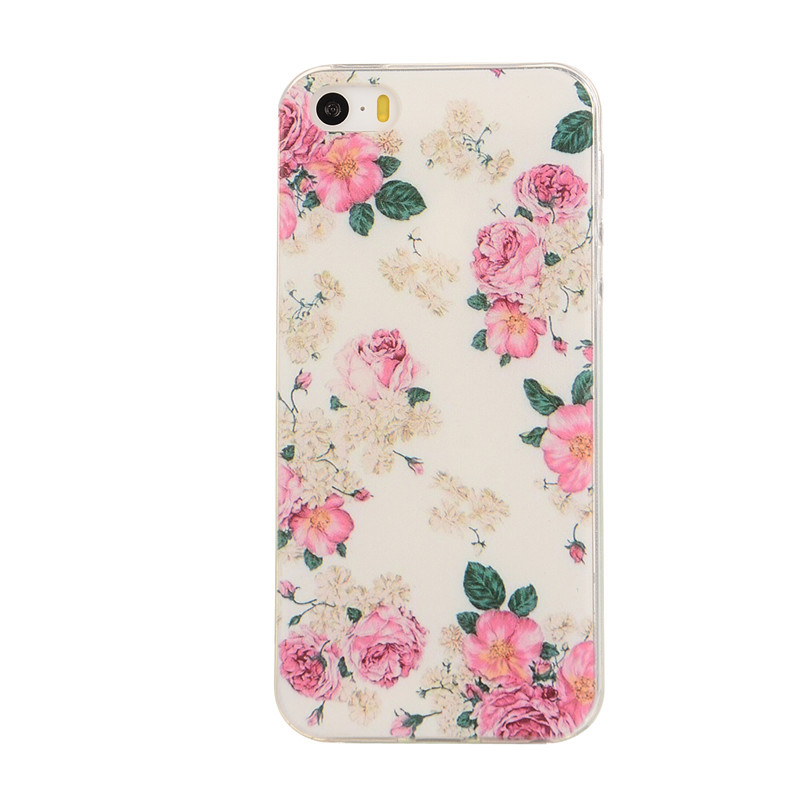Dandelion Color Pattern Transparent Soft TPU Phone Case coque For Apple IPhone 5 5S 5G Leaves Back Cover Cases