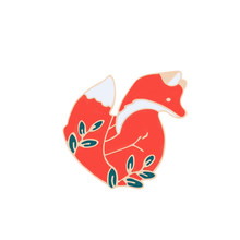 Emas Perak Lucu Hewan Merah Fox Lencana Bros Enamel Pin Tombol Ikon Denim Jaket Kerah Pin Perhiasan Bros untuk Anak-anak teman(China)