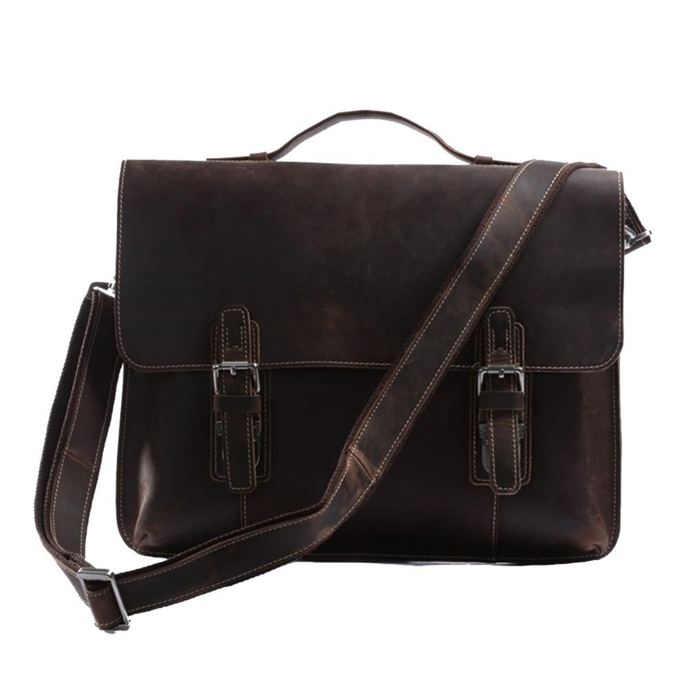 JUNDA Genuine Leather Briefcase Messenger Bag Shoulder Bag laptop Bag Bookbag (Dark Brown)(China (Mainland))