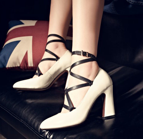 Spring 2016 Vintage Fashion Women High Heel Bandage Cross Belt Pumps Chunky Heels Pointy Toe Genuine Leather Party Dress Shoes<br><br>Aliexpress
