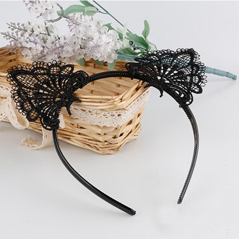 Sexy Women Fashion Lace Cat Ears Headband Wedding Photography Portrait Style Hair Hoop hair accessories Black(China (Mainland))