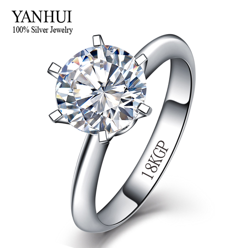 Big Promotion Gold Ring With 18KGP Stamp Real White Gold Filled Ring Inlay 8mm 2 Carat CZ Diamond Wedding Rings For Women YH099(China (Mainland))