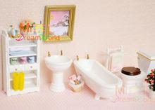 1/12 Dollhouse Miniature wood white Bathroom cabinet Bathtub Toilet Set 6PCS Furniture For BJD Doll Toy children (China (Mainland))
