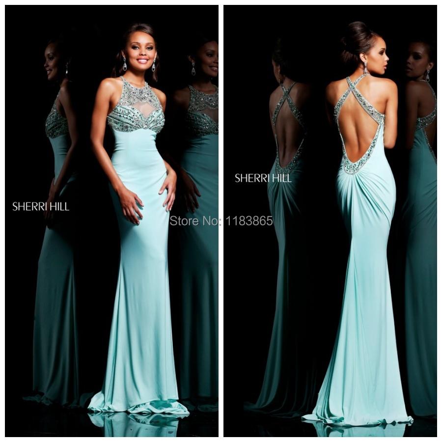 2014 new design cut out high neck evening gown mint green