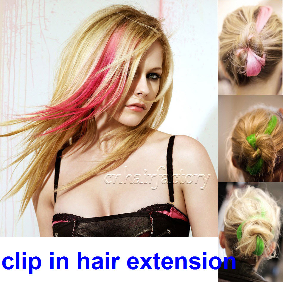 Free shipping Clip in on hair extension 5 pcs/lot straight hair extension highlight color hair extension 28colors cosplay hair<br><br>Aliexpress