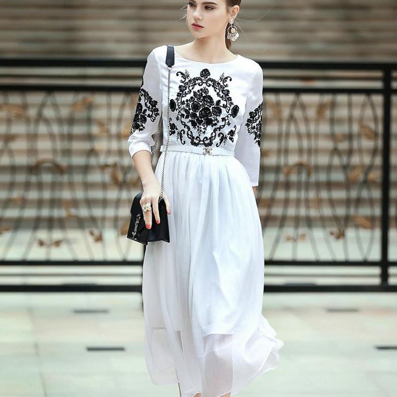 Luxury High Quality Brand clothing 2016 Summer Dress Women Three quarter sleeve Vintage Black White Dress vetement femme(China (Mainland))