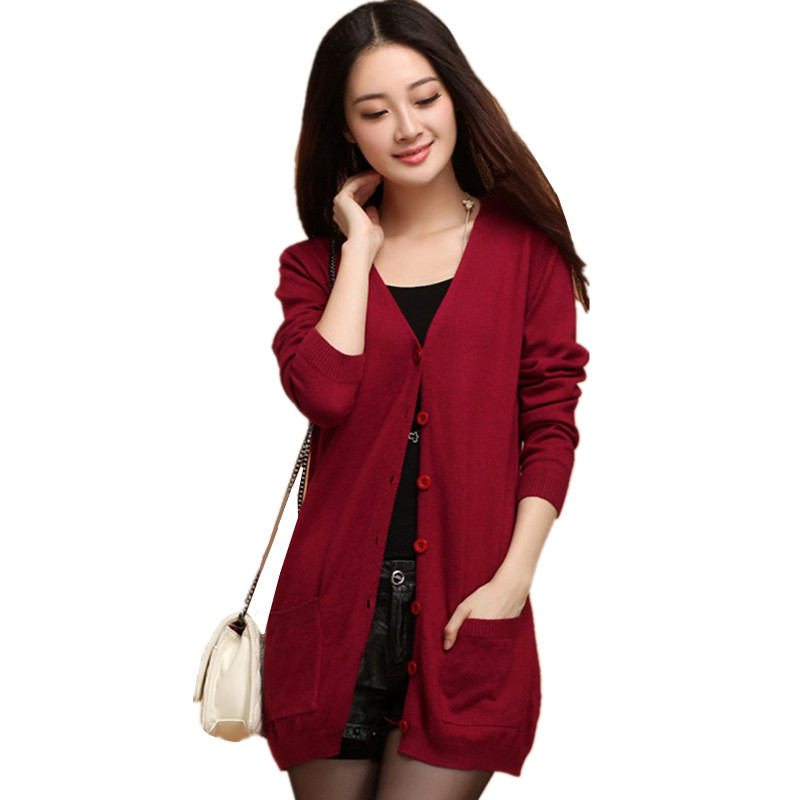 Гаджет  Spring Women Casual Cashmere Sweater Slim Style Knitwear Sweater With Pockets Female Fashion Knitted Cardigan 16 Solid Colors None Одежда и аксессуары