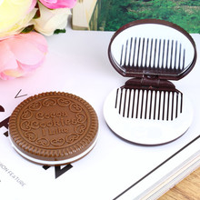 1PC Dark Brown Cute Chocolate Cookie Shaped Design Makeup Mirror with Comb Lady Women Makeup Tool Pocket Mirror Home Office Use(China (Mainland))