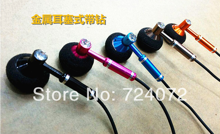 Free shipping wholesale 5pcs/lot hot selling lady earphones with mic for iphone smartphones women diamond headset in retail box(China (Mainland))