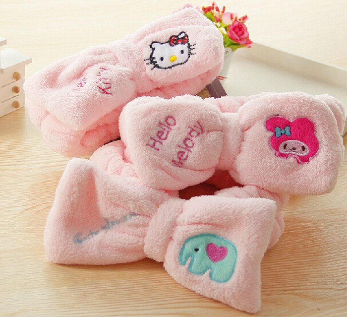 Hello Kitty flannelette Spa Bathing Make Wash Face Cosmetic Headband Hair Band Bow - Feng XQ Store store