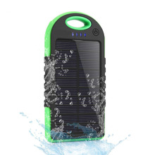 5000mAh green Waterproof Solar Charger Power Bank Dual USB For iPhone Android smart phone Cell Phone(China (Mainland))
