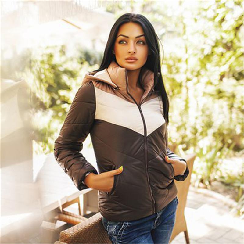 Куртка пэчворк, осень зима женщины куртки полный рукав с шляпа и карманы пуховик и парки свободного покроя тёплый пальто 5 цветов