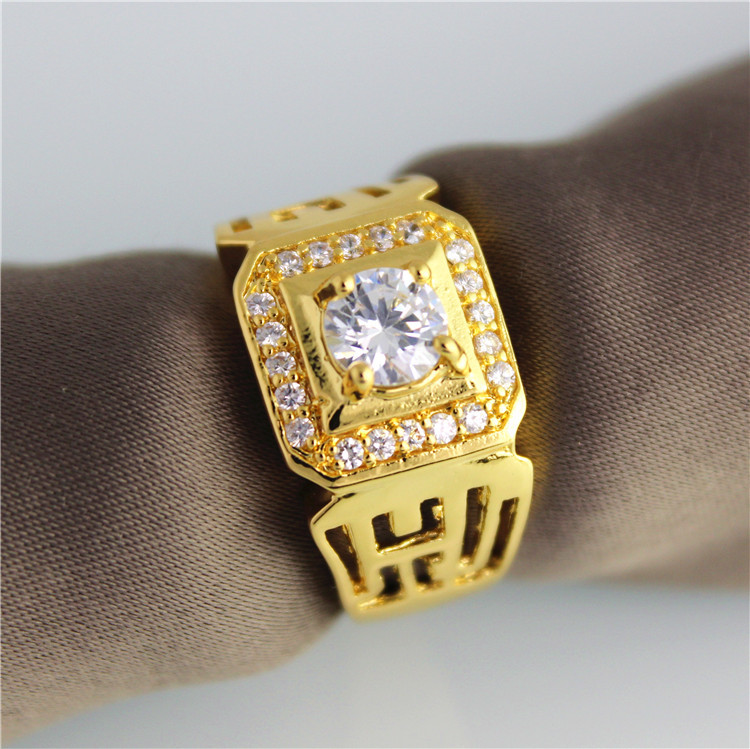 wholesale big 18k gold plated zircon ring wedding band rings for men