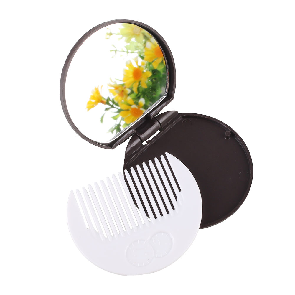 Makeup Mirror Comb Chocolate Biscuit Shape Tool Pocket Mirror Office Use(China (Mainland))