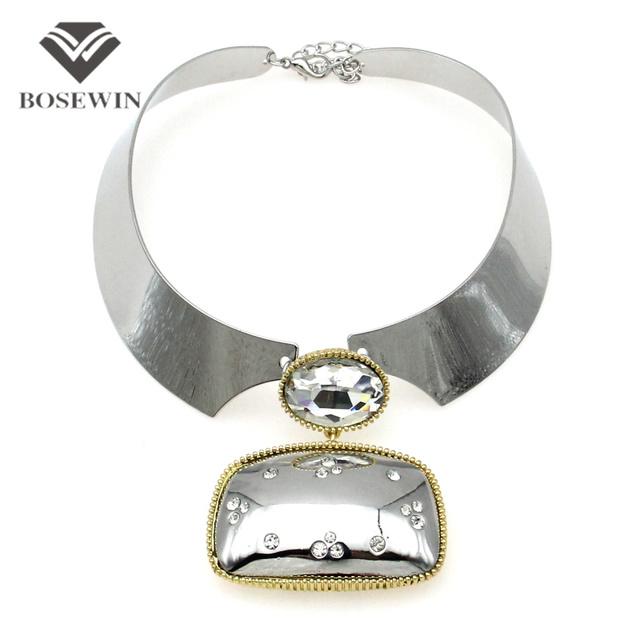 Панк серебристо-колье ожерелье женщины мода площадь сплава кулон широкий крутящий ...