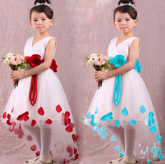 flower girl dresses for weddings 2 colors ,girls pageant dresses,wedding party dress, children V-neck princess dress H2159(China (Mainland))