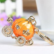 Orange Pumpkin Carriage Cute Crystal Charm Purse Handbag Car Key Keyring Keychain Party Wedding Birthday Gift(China (Mainland))