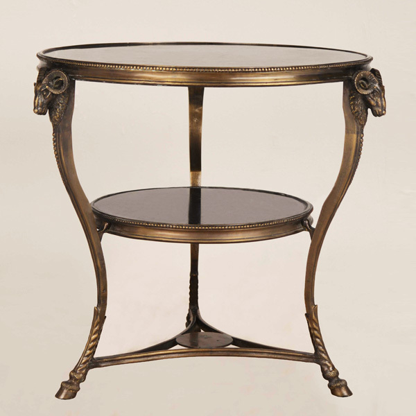 European golden copper and marble double-deck coffee table, luxury brown round table(China (Mainland))
