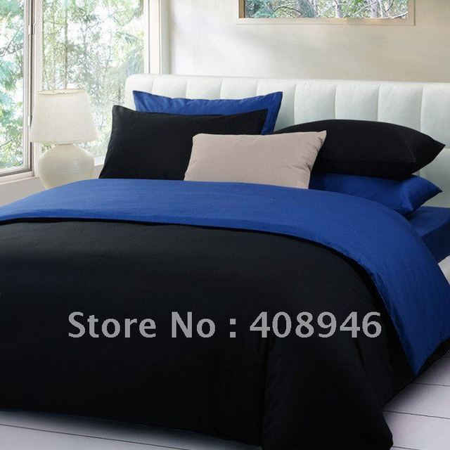 120217 Fedex free shipping! wholesale100% Sateen cotton black + blue color luxury bedding set / 4pcs duvet cover/bed linen