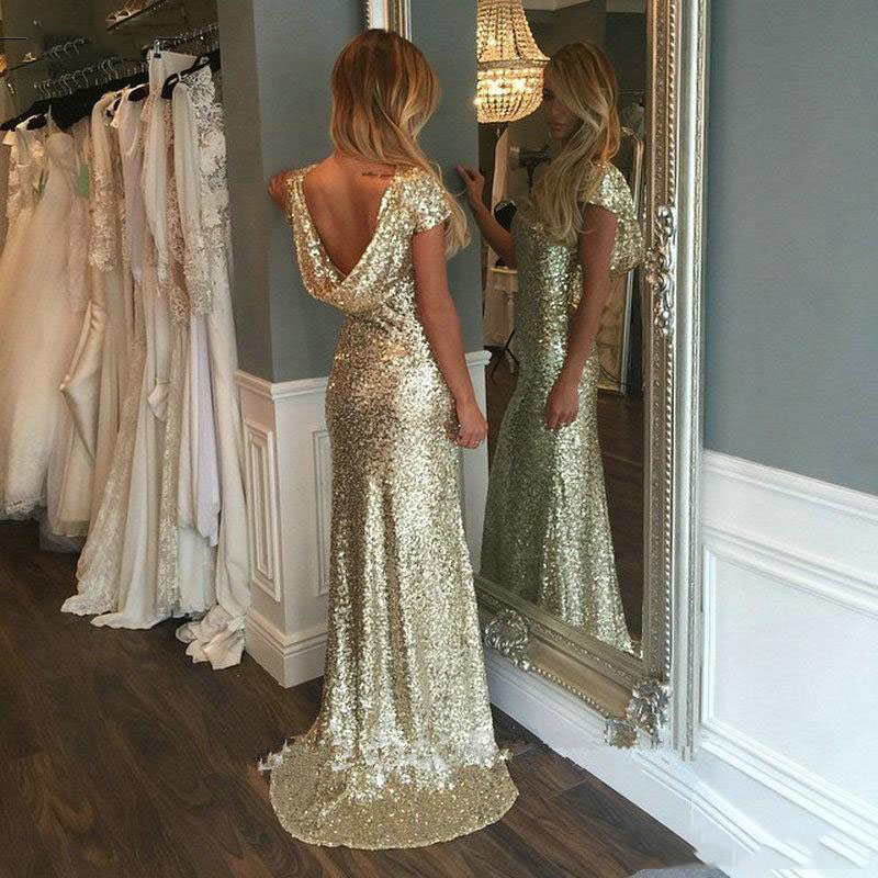 Champagne gold sequins long bridesmaid dresses 2016 for Champagne gold wedding dress
