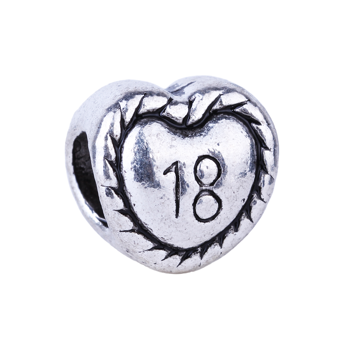 2016 New Number 18 Love Heart Eighteen Years Old Beads Charms European Silver DIY Bead Fit Pandora BIAGI Bracelets & Bangles(China (Mainland))