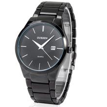 Negro Curren acero de tungsteno del muchacho del hombre analógico de cuarzo reloj con fecha reloj de pulsera