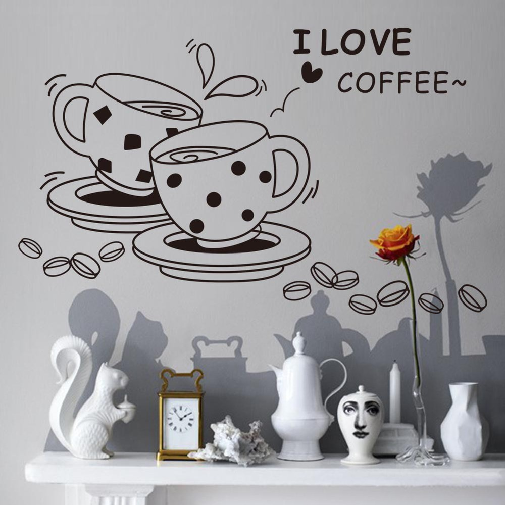 I love coffee wall decal removable cute coffee cup wall sticker Kitchen Restaurant vinyl wall stickers(China (Mainland))