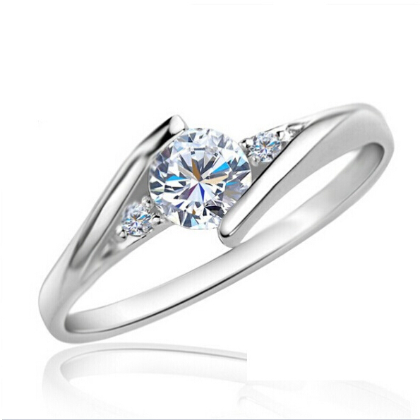 Beautiful Wedding Rings for Women Bridals Fashion Rose White Gold Plated Ring