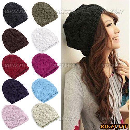 Hot sale Fashion New Winter Women LadiesCable Knit Knitted Crochet Beanie Hat Cap 9 Colors