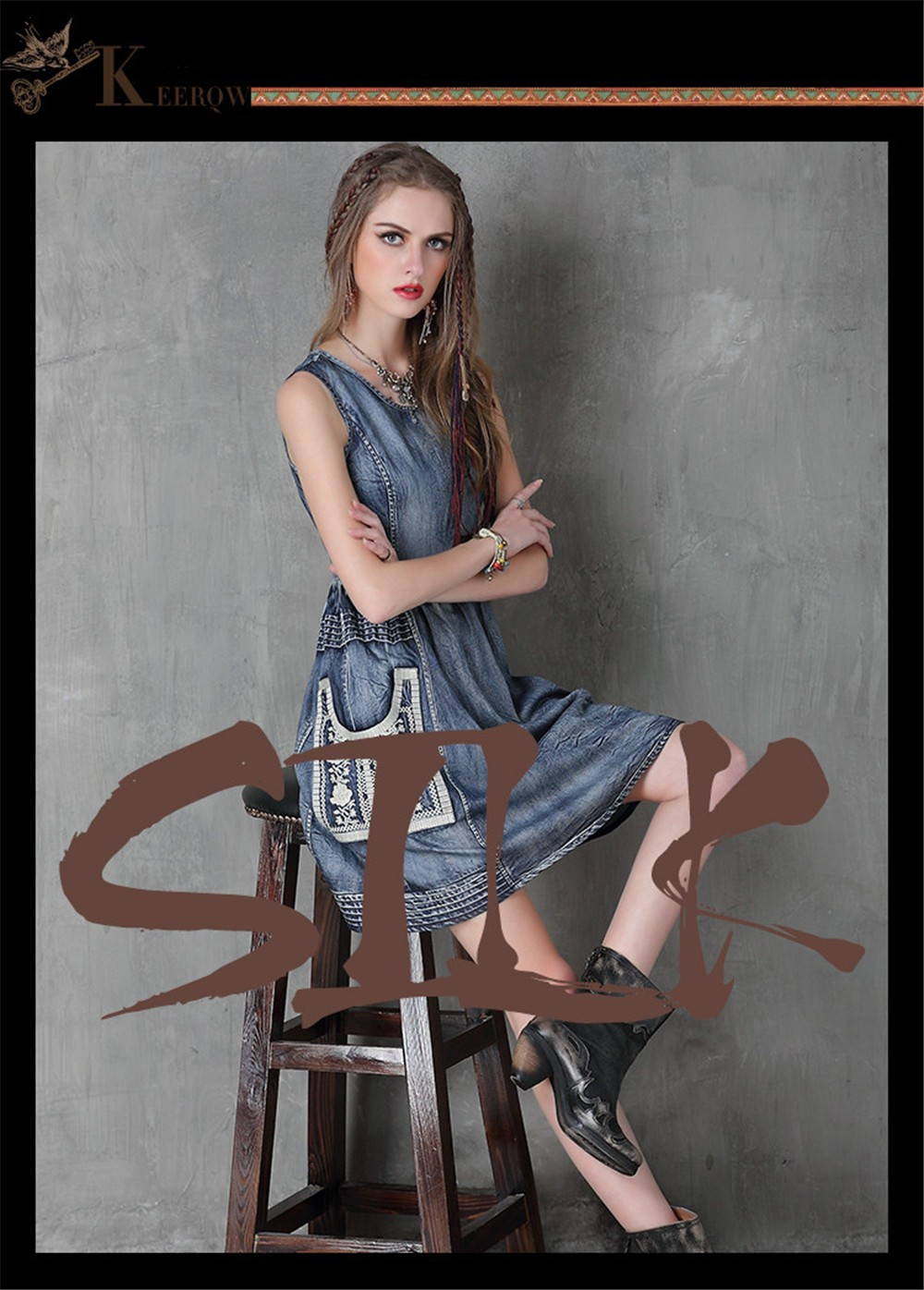 Vintage Summer Style Cotton Women Dress Cowgirl Embroidery Dress Sleeveless Denim Tank Dresses O-Neck Floral Vestidos Femininos (1)