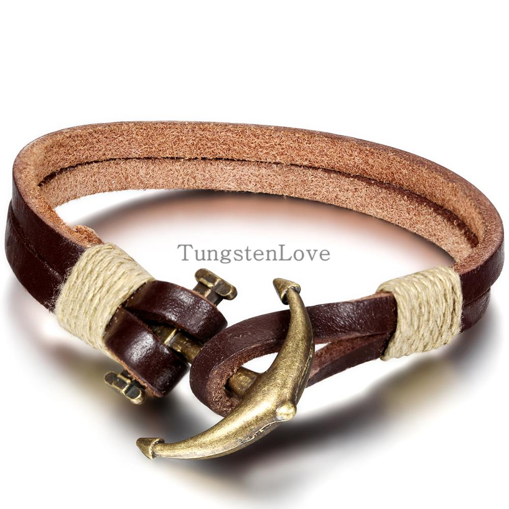 21cm Men Jewelry Pirate Style Bronze Genuine Leather Anchor Bracelets Wholesale Cuff braided Bracelet & Bangles Brown Color(China (Mainland))
