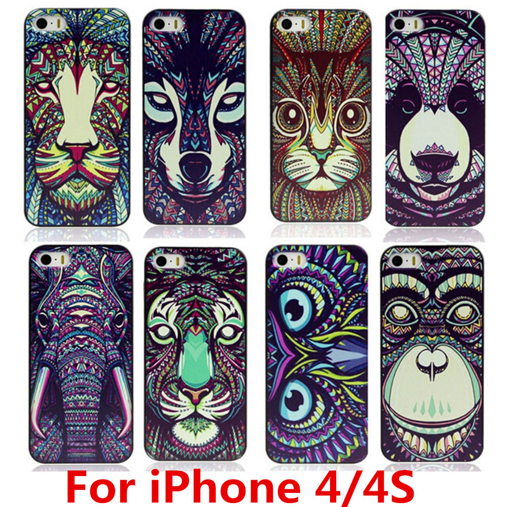 New Fashion Cute Aztec Animal Case Cover For Apple iPhone 4 4S Elephant Tiger Owl Orangutan Bear Kitten Wolf Painted Back Lucky(China (Mainland))