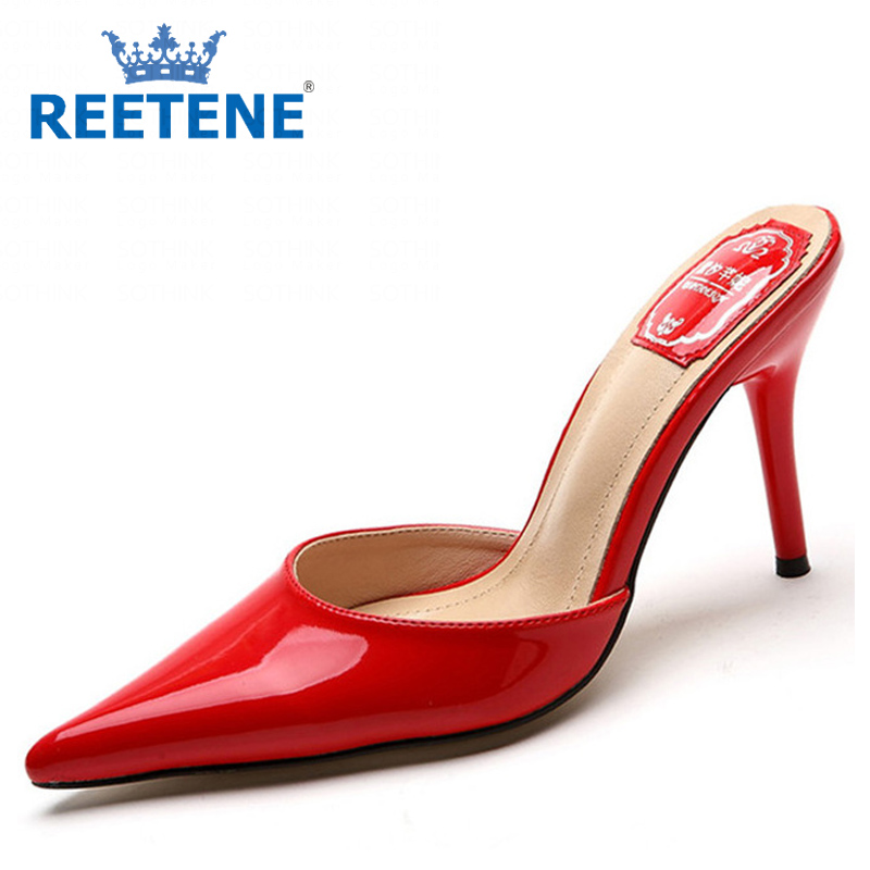 Fashion High Heels PU Genuine Leather Women Sandals Summer Slides Pointed Pump Shoes Slippers - REETENE store