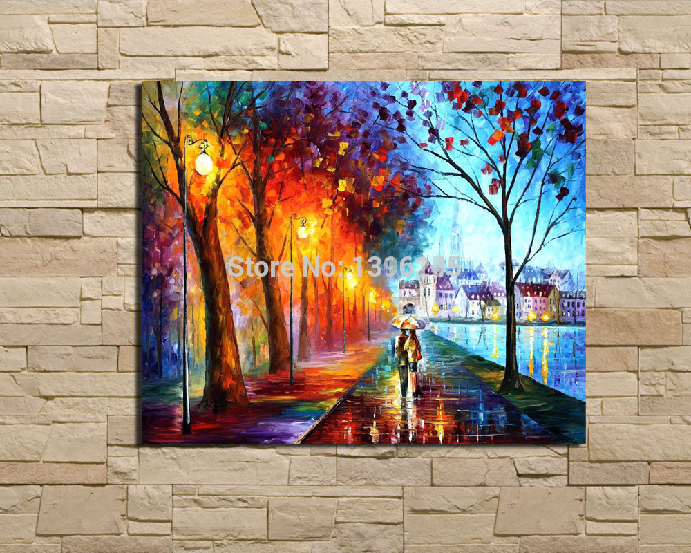 Free Sell Large Oil Paintings Canvas Wall Art City Lake Palette Knife Oil Painting Canvas Pictures