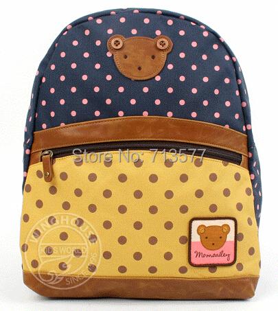 Pretty baby dot pattern backpacks beautiful girls and boys school bag fashion kids shoulder bag 1pc BG040(China (Mainland))
